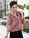 3/4 Sleeve Hood Rabbit Fur Casual/Party Jacket(More Colors)