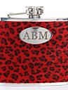 Gift Groomsman Personalized Red Leopard 5-oz Flask