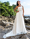 Lanting Bride A-line / Princess Petite / Plus Sizes Wedding Dress-Chapel Train One Shoulder Chiffon