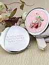 Personalized Floral Chrome Compact Mirror Favor