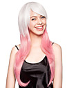 Capless High Quality Synthetic White and Pink Long Straight Party Wig