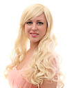 Capless 20% Human Hair Long Wavy Blonde Hair Wigs