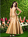 Ankle-length Taffeta Junior Bridesmaid Dress Trumpet / Mermaid Spaghetti Straps Natural with Beading / Criss Cross / Side Draping