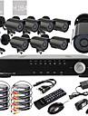 8CH D1 en tiempo real H.264 600TVL Definicion CCTV DVR Kit High (8pcs impermeables Dia Noche CMOS Camaras)