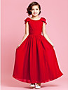 Wedding Party Dress A-line / Princess Jewel Ankle-length Chiffon with Bow(s) / Buttons / Draping / Ruching
