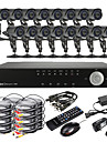 16ch D1 realtid H.264 High Definition CCTV DVR Kit (16 Vattentät 600TVL Dag Natt CMOS-kameror)
