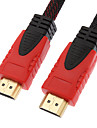 10M 30FT Black & Red 1080P HDMI V1.4  HDMI to HDMI High Speed HDMI Cable w/Ferrite Cores