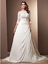 Lanting Bride® A-line Petite / Plus Sizes Wedding Dress - Classic & Timeless / Glamorous & Dramatic Vintage Inspired Court Train