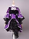 3/4-length manga curta roxo e preto de cetim Gothic Lolita Vestido