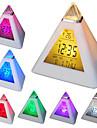 7 couleurs changeantes conduit en forme de pyramide reveil numerique horloge calendrier thermometre (blanc, 3xAAA)