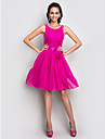 TS Couture® Cocktail Party / Holiday /  Dress - Fuchsia Plus Sizes / Petite A-line Scoop Knee-length Stretch Satin