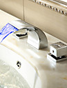 Sprinkle® Sink Faucets LED / Waterfall / Widespread with Chrome Two Handles Three Holes