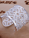 Statement Rings Cuff Ring Sterling Silver Rhinestone Heart Heart Adjustable Elegant Silver Jewelry Daily 1pc