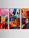 Hand-painted Abstract Oil Painting Enjoy Village Happy Life Canvas Art Set of 3