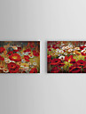 Peint a la main peinture a l\'huile Popies floraux avec Set cadre etire de 2 1309C-FL0856