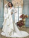 Lanting Bride® Linha A Pequeno / Tamanhos Grandes Vestido de Noiva - Classico e atemporal / Elegante e Luxuoso Inspiracao VintageCauda