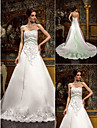 Lanting Bride A-line Petite / Plus Sizes Wedding Dress-Chapel Train Sweetheart Lace / Satin
