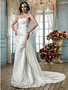 Lan Ting Trumpet/Mermaid Plus Sizes Wedding Dress - Ivory Sweep/Brush Train Sweetheart Lace/Sequined