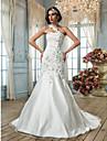 LAN TING BRIDE Trompeta / Sirena Vestido de novia - Clasico Elegante Corte Un Hombro Tul con Cuentas Apliques Flor