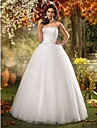 A-line/Princess Plus Sizes Wedding Dress - Ivory Floor-length Strapless Tulle