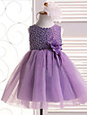 Formal Evening / Vacation / Wedding Party Dress A-line Jewel Knee-length Satin / Tulle with Beading / Flower(s)