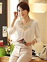Kvinners Chiffon Lace Hekle T-skjorte