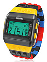 Men's Watch Sports Block Bricks Style LCD Digital Colorful Plastic Band Wrist Watch Cool Watch Unique Watch