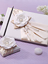 Elegant Wedding Guest Book And Pen Set With Flower And Pearl Sign In Book