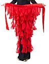 밸리 댄스 밸트 여성용 쉬폰 러플 1개 레드 밸리댄스 / 볼룸 봄, 가을, 겨울, 여름 밸리댄스 히프 스카프