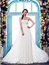 Sheath/Column Plus Sizes Wedding Dress - Ivory Court Train Strapless Chiffon