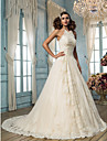 Lanting Bride A-line Petite / Plus Sizes Wedding Dress-Sweep/Brush Train Halter Tulle