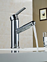 Contemporain Set de centre Avec spray demontable with  Valve en ceramique Mitigeur un trou for  Chrome , Robinet lavabo