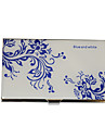 Personalized Blue-White Flower motif grave Business Card Holder
