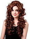 Capless Długi High Quality Copper Średni syntetyczny Curly Hair Peruki Red Bang Side