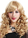 Capless Long High Quality Synthetic Blonde Curls Wig Side Bang