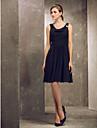 Vestido de Dama de Honor - Negro Corte A/Corte Princesa Escote Capa/Tirantes - Hasta la Rodilla Gasa Tallas grandes