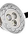3W 3xHigh putere 285LM 6000-6200K LED alb de lumină rece încastrat în jos Light - Silver Cover (85-265V)