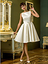 A-line Petite / Plus Sizes Wedding Dress - Ivory Knee-length Bateau Satin