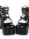 Handgjord svart PU läder 9,5 cm hög klack Classic Lolita skor med pilbågen