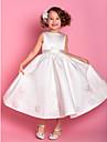Sheath/Column Tea-length Flower Girl Dress - Satin/Tulle Sleeveless