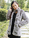 Thick Long Sleeve Standing Collar Faux Fur Party/Casual Coat(More Colors)