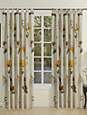 Two Panels Floral Botanical Cotton Panel Curtains Drapes