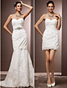Lan Ting Trumpet/Mermaid Plus Sizes Wedding Dress - Ivory Court Train Sweetheart Lace