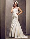 Trumpet/Mermaid Plus Sizes Wedding Dress - Ivory Sweep/Brush Train Jewel Satin/Lace