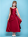 Lanting Bride® Tea-length Satin Junior Bridesmaid Dress A-line V-neck Natural with Flower(s) / Criss Cross