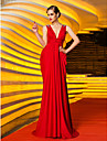 Formal Evening/Military Ball Dress - Ruby Plus Sizes Sheath/Column V-neck Sweep/Brush Train Jersey