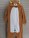 Cheerful Rilakkuma Brown Polar Fleece Kigurumi Pajamas Cartoon Sleepwear Animal Halloween Costume