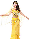 Belly Dance Outfits Women\'s Performance Chiffon / Sequined Beading / Coins / Sequins Fuchsia / Red / YellowBelly Dance / Performance /