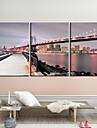 Stretched Canvas Art Landscape The Manhattan Bridgel Set med 3