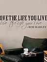 ord väggdekorationer älskar livet du lever Bob Marley citat tvättbara väggdekaler